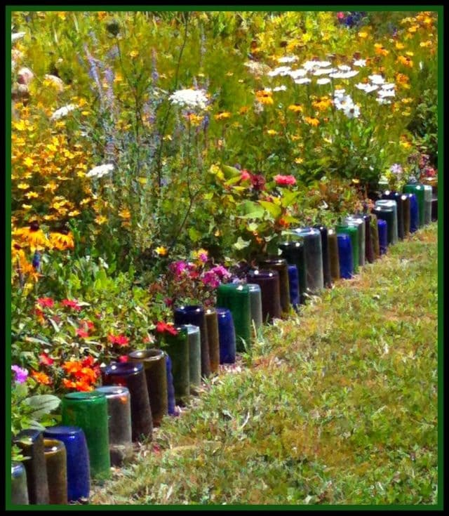 Upcycle Glass Bottle Garden Edging