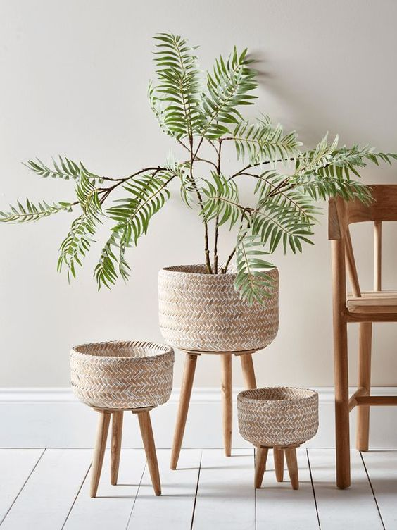 Bamboo Stool Planter Stand