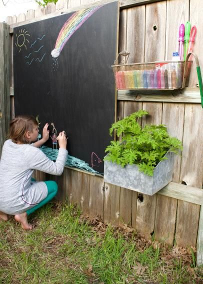 Chalkboard Activity Wall with Art Supplies