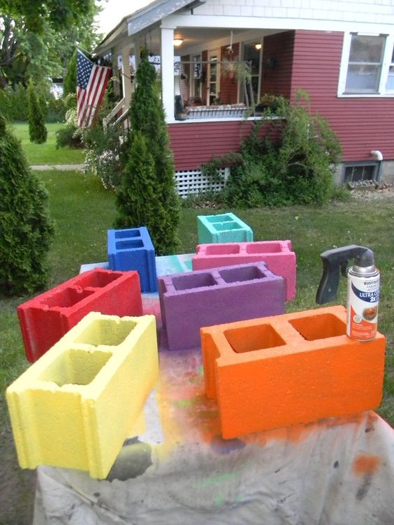 DIY Colorful Painted Cinderblock Benches