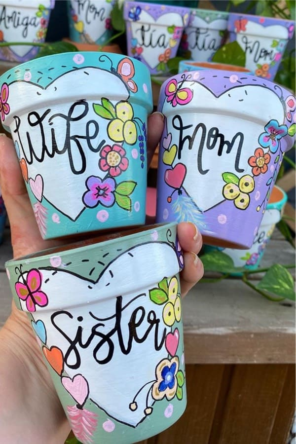 DIY Painted Flower Pots with Labels or Sayings