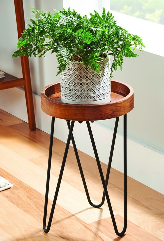 Wooden Cylinder Hairpin Plant Stand